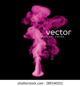 Vector illustration of pink smoke on black. Use it as an element of background in your design.