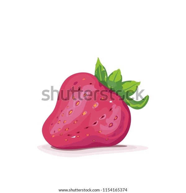 Vector illustration of a pink strawberry fruit isolated with shadow