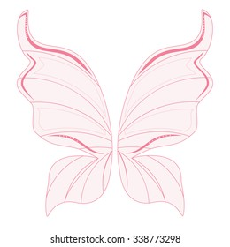 Vector illustration pink transparent fairy wings. Butterfly wings. Tooth fairy wings