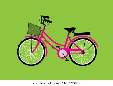 vector illustration of pink utility bicycle isolated on green background