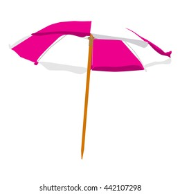 Vector illustration pink and white summer beach umbrella isolated on white background. Colorful beach umbrella