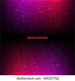 Vector illustration of Pink-purple squares on a black background