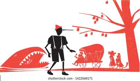 vector illustration of Pinocchio fairytale