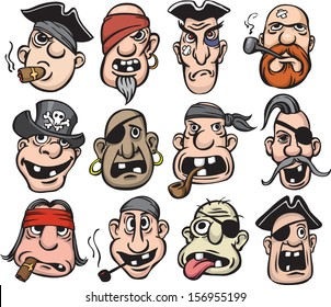 Vector illustration of pirate faces. Easy-edit layered vector EPS10 file scalable to any size without quality loss. High resolution raster JPG file is included.