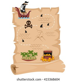 Vector Illustration of Pirate Map