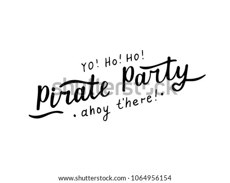 Vector Illustration Of Pirate Party Text For LogotypepostcardPhrase Posterscard