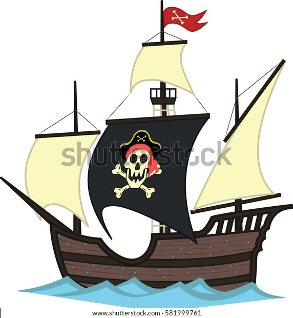 vector illustration of pirate ship at sea