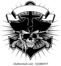 Vector illustration pirate sign skull in cocked hat with crossed old pistols and anchor