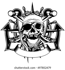 Vector illustration pirate symbol skull with bandana, crossed bones and crossed anchors and wheel