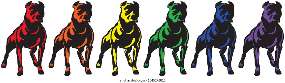 Vector illustration of pit bull dogs in six spectrum colors.Simple drawing, iconic style