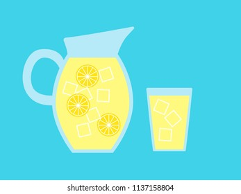 Vector illustration of a pitcher and glass of lemonade