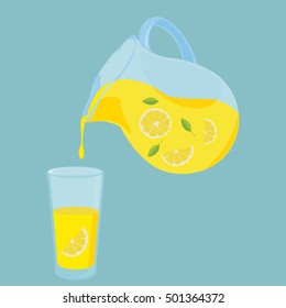 Vector illustration pitcher ( jug ) and glass of lemon drink with lemon fruit slice and leaf. Fresh lemonade icon.