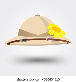 vector illustration of pith helmet hat for safari isolated on white background