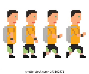 vector illustration - pixel art style drawing of person in yellow t-shirt and shorts running or walking sprite, isolated 8 bit on white background