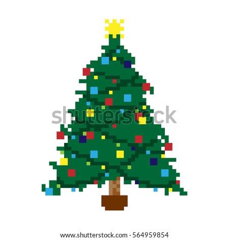 Vector Illustration - Pixel Christmas Tree - Vector Illustration Pixel Christmas Tree Stock Vector (Royalty Free