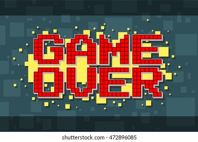 A vector illustration of Pixel red game over screen on yellow background