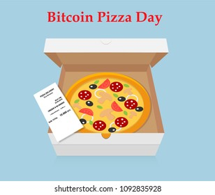Vector illustration with pizza and bitcoin. May 22  Bitcoin Pizza Day. Worldwide Cryptocommunity holiday.