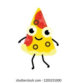 Vector illustration of pizza cartoon character isolated on white background - cute emoticon of triangle piece of cooked food from dough with vegetables and cheese in flat style.