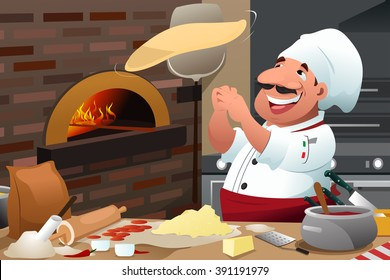 A vector illustration of Pizza chef tossing pizza dough in the air