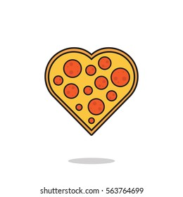 vector illustration of a pizza heart. food / Pizza love concept for valentine's day.