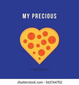 """vector illustration of a pizza heart. food / Pizza love concept for valentine's day. """"my precious"""" phrase."""