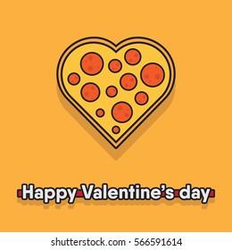 "vector illustration of a pizza heart. food / Pizza love concept for valentine's day. ""happy valentine's day"" phrase. proposal idea."