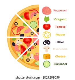 Vector illustration of pizza with ingredients - pepperoni, oregano, tomato, pepper, olive, mushroom, cheese. Made in cartoon flat style