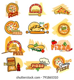 vector illustration of Pizza label tag sticker for Advertisement