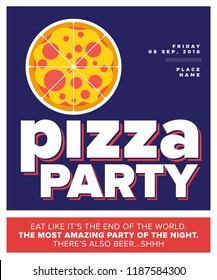 vector illustration pizza pizza party flyer stock vector royalty