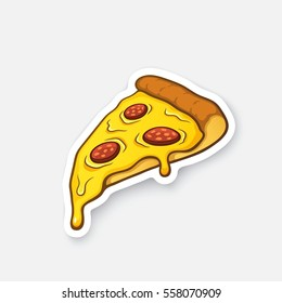 Vector illustration. Pizza slice with melted cheese and pepperoni. Cartoon sticker in comic style with contour. Decoration for greeting cards, posters, patches, prints for clothes, emblems