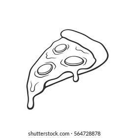 Vector illustration. Pizza slice with melted cheese and pepperoni. Hand drawn doodle. Cartoon sketch. Decoration for greeting cards, posters, emblems