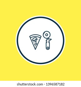 Vector illustration of pizza slicer icon line. Beautiful utensil element also can be used as pepperoni icon element.