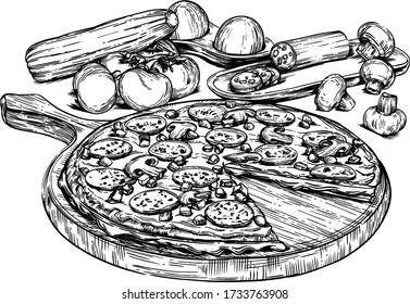 vector illustration of pizza and vegetables with detailed drawing