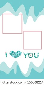 A vector illustration with place for text for phone screensaver in 9:16 format. A text i love you from green leaves and hearts for social networks and instagram stories for valentines day or wedding