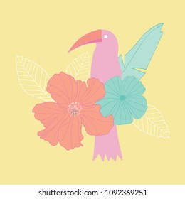 Vector illustration placement print of tropical plants, leaves, birds flower elemnts with a yellow background. Great for cards, posters, greeting cards, prints, t-shirts design