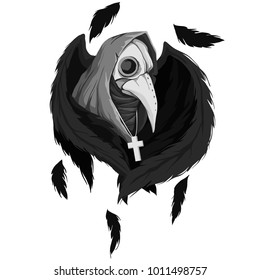 Vector illustration of a plague doctor with wings. Medieval doctor with skull crows isolated on white background