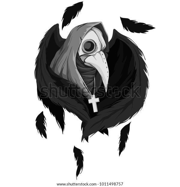 130f7239d60f1 Vector illustration of a plague doctor with wings. Medieval doctor with  skull crows isolated on