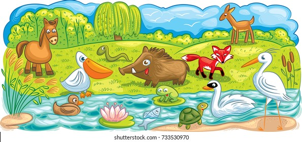 Vector illustration with a plain and river landscape together with specific animals and birds