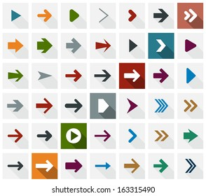 Vector illustration of plain square arrow icons. Flat design.