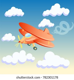vector illustration of the plane on the background of the morning sky with clouds