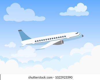 Vector illustration of plane in the sky over the clouds. Flat design style concept of airplane flying through clouds in the blue sky.