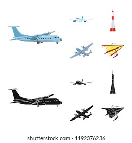 Vector illustration of plane and transport logo. Collection of plane and sky stock vector illustration.
