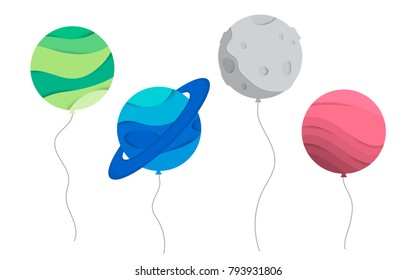Vector illustration of planet ballons. Concept for a greeting card, birthday card. Cosmic Planet paper cut, paper art. Planet and satellite double exposure