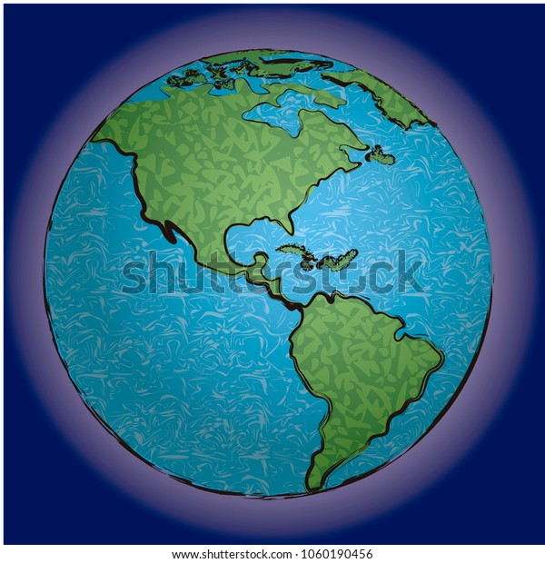 Vector illustration of planet Earth and it's atmosphere, with decorative texture.