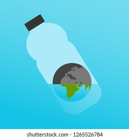 Vector Illustration: The Planet Earth in Plastic Bottle with a Little Water as a Symbol for Global Ecological Issue: Lack of Quality Water.