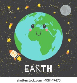 Vector illustration planet Earth in retro flat cartoon style. Poster for children room, education. Earth card composition of the planets, stars, comets, constellations, space ship