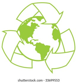Vector illustration of planet Earth surrounded by a recycle symbol. Great icon for going green design.