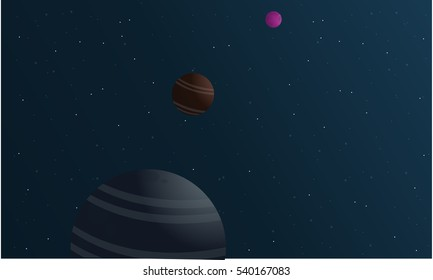 Vector illustration of planet space landscape