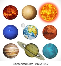 Vector illustration planets Solar system and sun isolated on white background