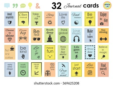 vector illustration / planner stickers set / rainbow colors / quotes